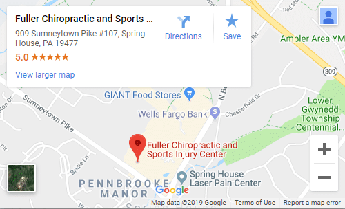 Chiropractic Spring House PA Fuller Chiropractic and Sports Injury Center map